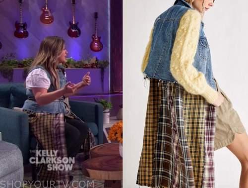 kelly clarkson, the kelly clarkson show, denim patchwork long vest