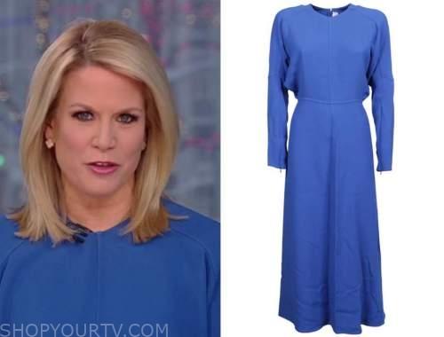 the story, martha maccallum, blue midi dress
