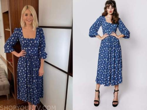 holly willoughby, blue and white printed midi dress, this morning