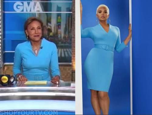 robin roberts, good morning america, blue belted sheath dress