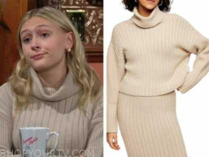 faith newman, alyvia alyn lind, the young and the restless, beige turtleneck sweater