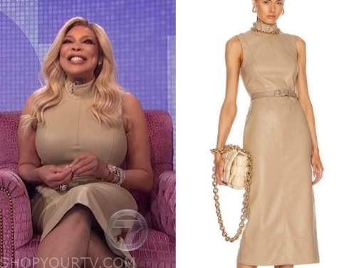 wendy williams, the wendy williams show, beige leather dress