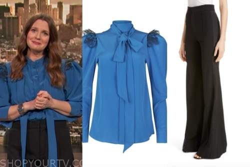 drew barrymore, drew barrymore show, blue and black lace tie neck blouse, black pants