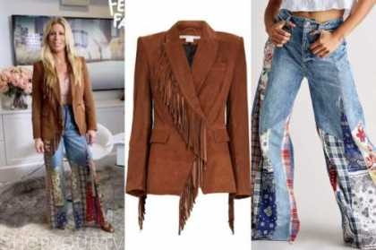 jill martin, the today show, brown suede fringe blazer, patchwork flare jeans