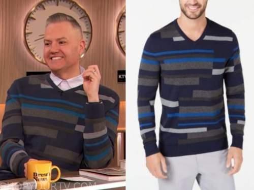 ross mathews, drew barrymore show, blue striped v-neck sweater
