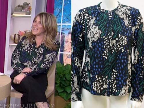 jenna bush hager, the today show, green and blue printed blouse