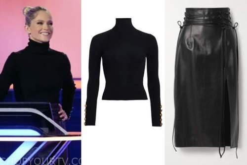 the chase, sara haines, black turtleneck, black leather skirt