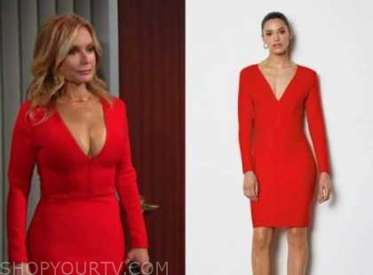 lauren fenmore baldwin, tracey bregman, the young and the restless, red knit dress