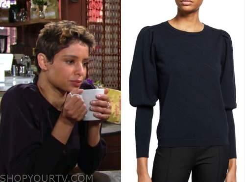 elena dawson, brytni sarpy, the young and the restless, navy blue puff sleeve sweater