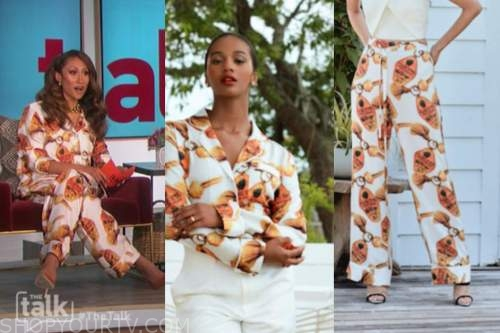 elaine welteroth, the talk, orange and white printed silk shirt and pants