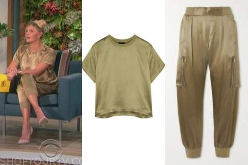 amanda kloots, the talk, olive green satin tee and olive green satin cargo pants