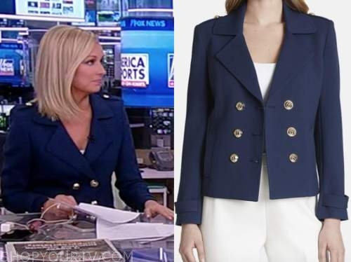 sandra smith, navy blue double breasted jacket, america reports