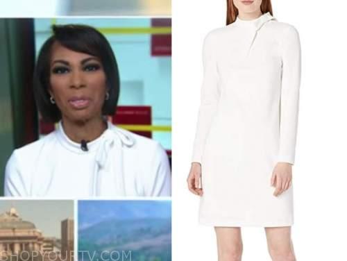 harris faulkner, outnumbered, white tie neck long sleeve dress