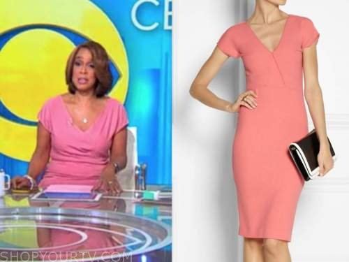gayle king, cbs this morning, coral pink sheath dress