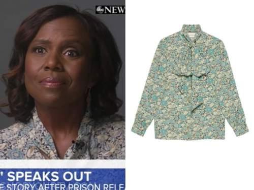 deborah roberts, good morning america, green and blue floral tie neck blouse
