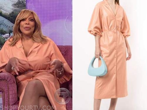 wendy williams, the wendy williams show, peach leather shirt dress