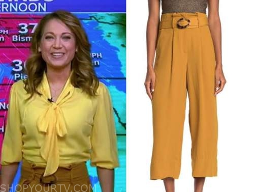 ginger zee, good morning america, mustard yellow belted pants