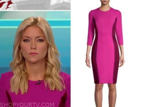fox and friends, ainsley earhardt, pink and burgundy colorblock sheath dress