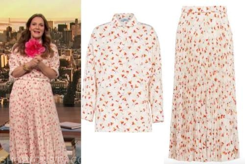drew barrymore, drew barrymore show, floral blouse, floral pleated midi skirt