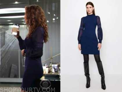 lily winters, christel khalil, the young and the restless, navy blue lace knit dress