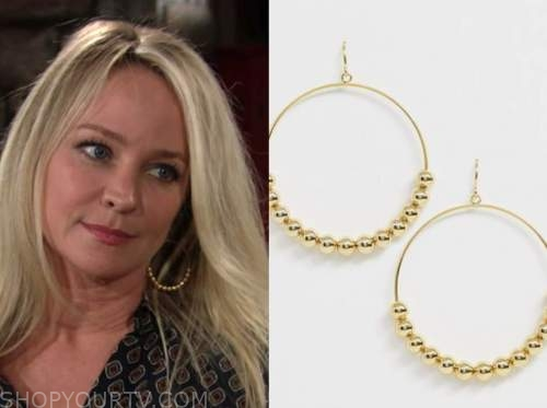 sharon newman, sharon case, the young and the restless, gold beaded hoop earrings