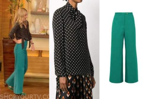 kelly ripa, live with kelly and ryan, black polka dot blouse, green pants