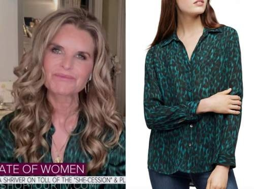 maria shriver, the today show, teal green leopard blouse