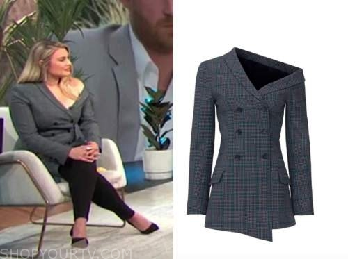 carissa culiner, E! news, daily pop, asymmetric plaid blazer