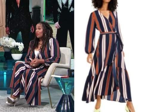 kym whitley, E! news, daily pop, striped wrap dress