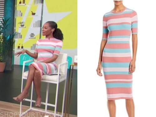 zuri hall, access daily, striped ribbed knit dress