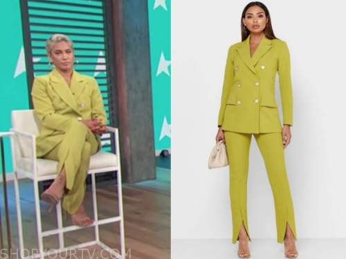 sibley scoles, access daily, green double breasted pant suit
