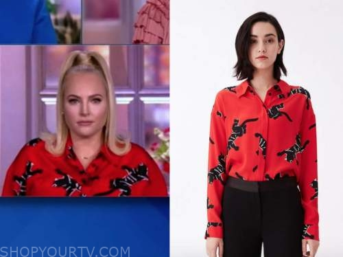 meghan mccain, the view, red and black panther blouse