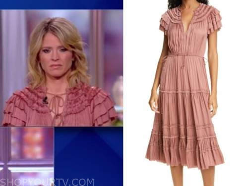 sara haines, coral pink ruffle satin midi dress, the view