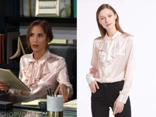 lily winters, christel khalil, the young and the restless, pink silk ruffle shirt