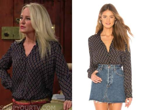 sharon newman, sharon case, the young and the restless, blue tile print blouse