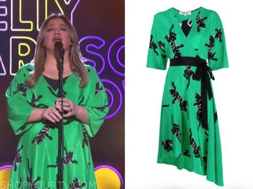 kelly clarkson, the kelly clarkson show, green and black panther wrap dress