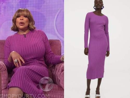 wendy williams, the wendy williams show, purple ribbed knit midi dress