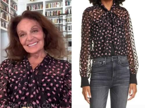 diane von furstenberg, the kelly clarkson show, black and pink dot tie neck blouse