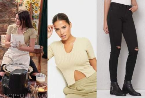 rachael kirkconnell, sage green crop top, ripped jeans, the bachelor, fantasy suite dates