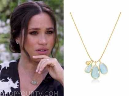 meghan markle, cbs news, oprah with meghan and harry, aqua pendant necklace