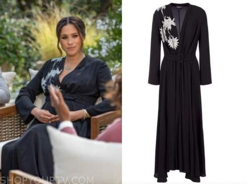 meghan markle, oprah with meghan and harry, black and white floral silk midi dress
