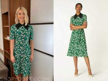 holly willoughby, this morning, green floral lace collar dress
