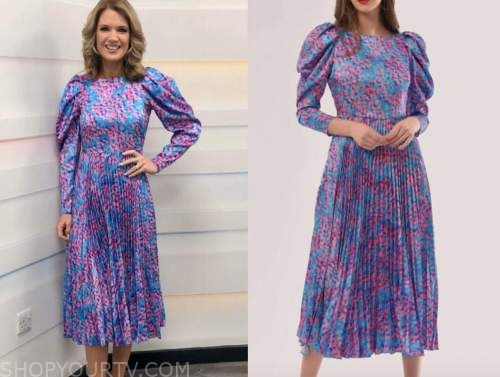 charlotte hawkins, good morning britain, pink and blue pleated midi dress
