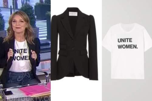 savannah guthrie, the today show, black blazer, tie waist jeans, white women unite tee