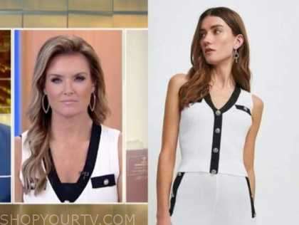 jillian mele, fox and friends, black and white knit vest top
