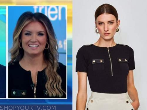 jillian mele, fox and friends, black zip-front top