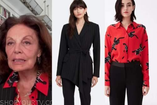 diane von furstenberg, black striped blazer, red and black panther top, good morning america