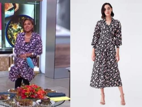 robin roberts, good morning america, pink and black floral wrap dress