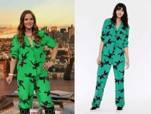 drew barrymore show, drew barrymore, green and black silk panther top and pants