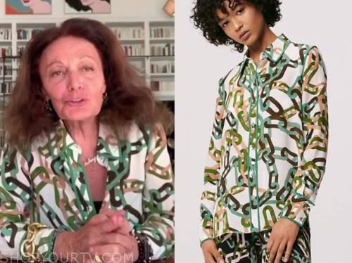 diane von furstenberg, chain link printed silk shirt, drew barrymore show
